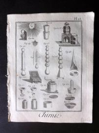 Diderot 1780's Antique Print. Chimie 12 Chemistry